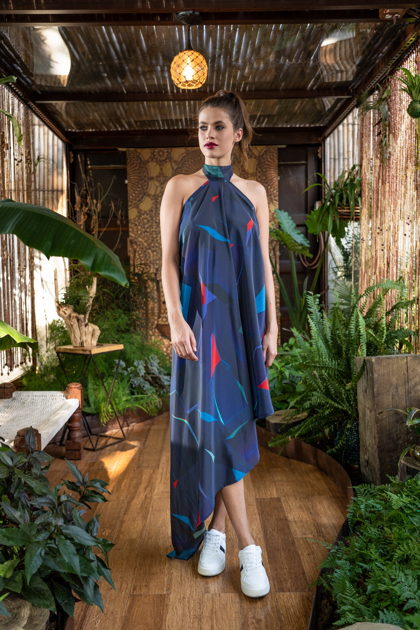 Fresco Silk Dress- Night Blue Print Dresses - artTECA
