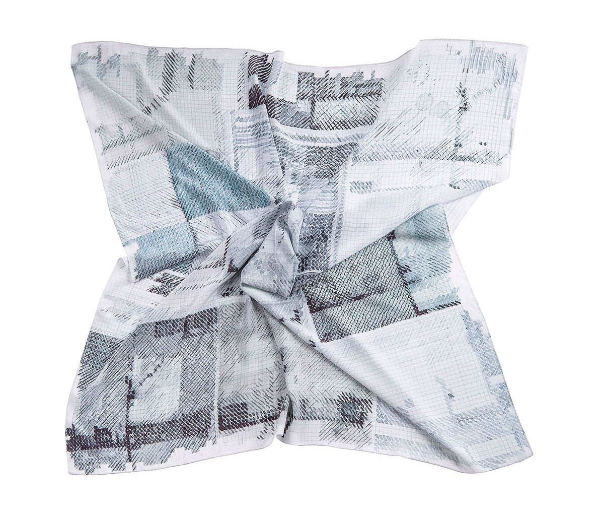 Hue Silk Scarf - Black Watercolor Print Scarves - artTECA