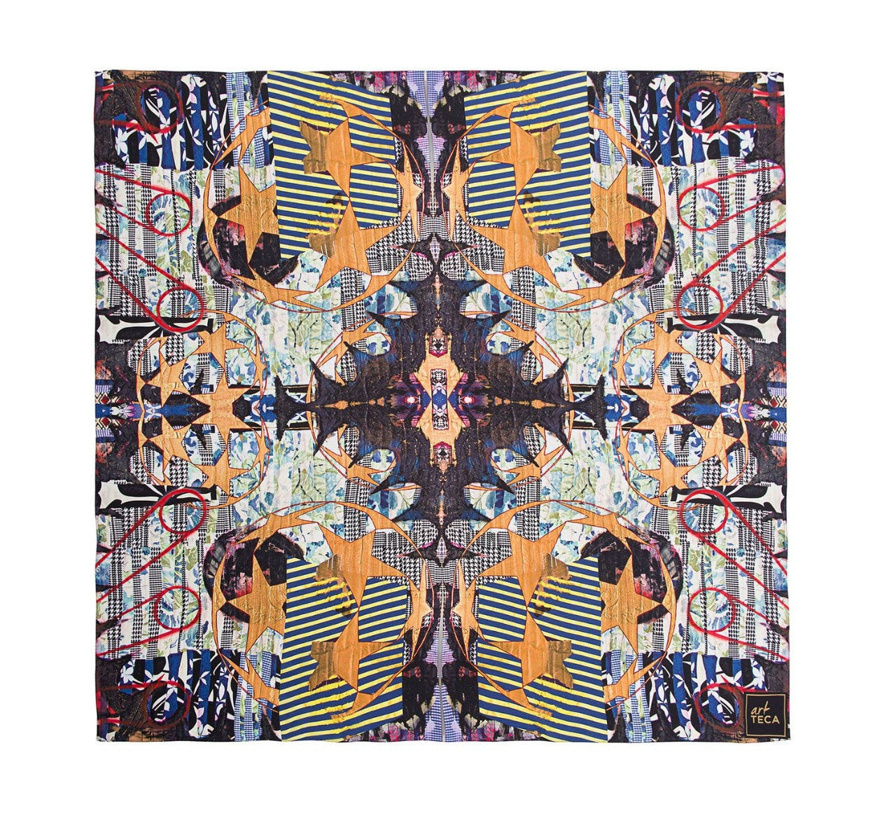 Extended view of limited edition silk scarf designed by New York artist Sanford Biggers