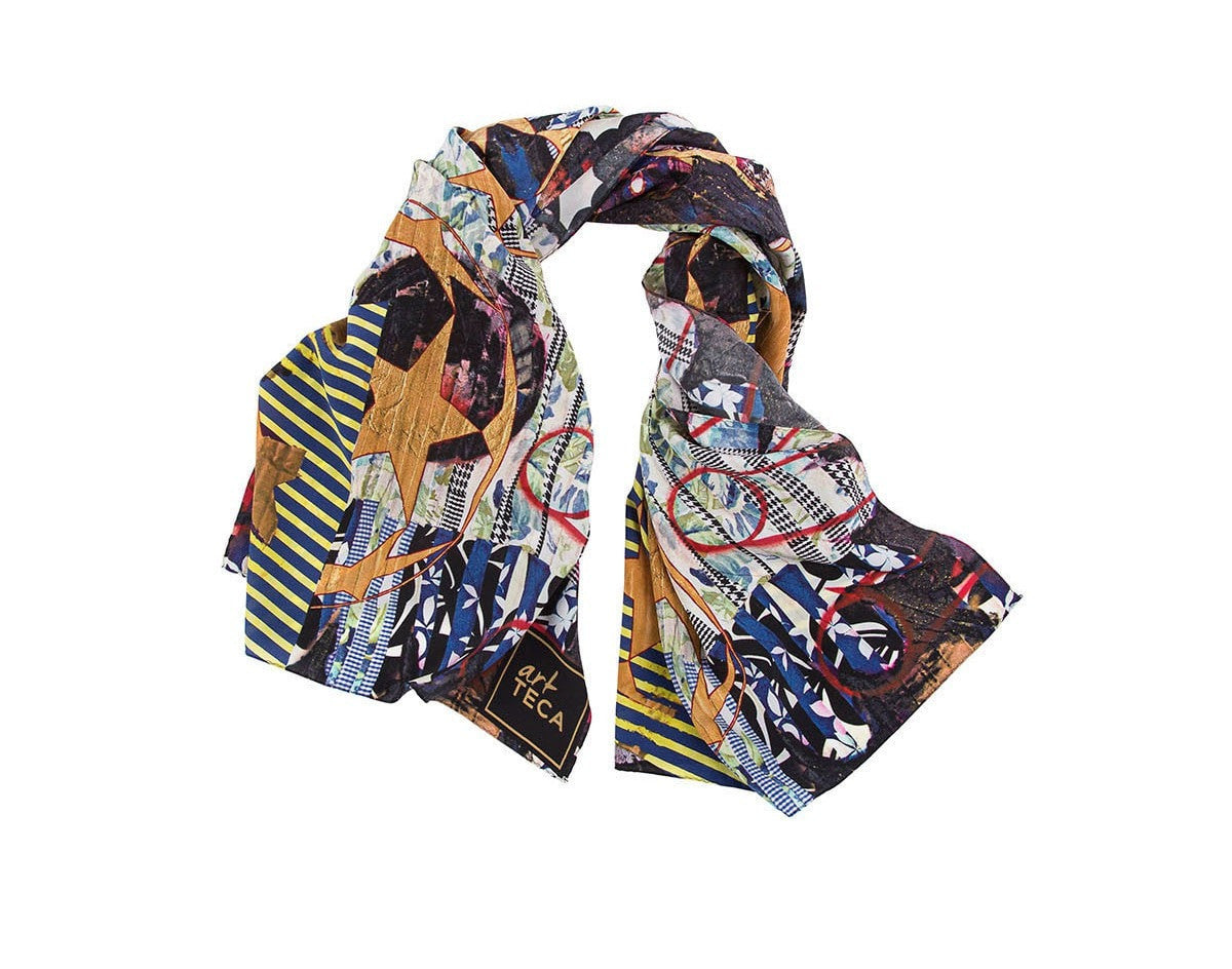 Folded view of limited  edition silk scarf designed by New York artist Sanford Biggers