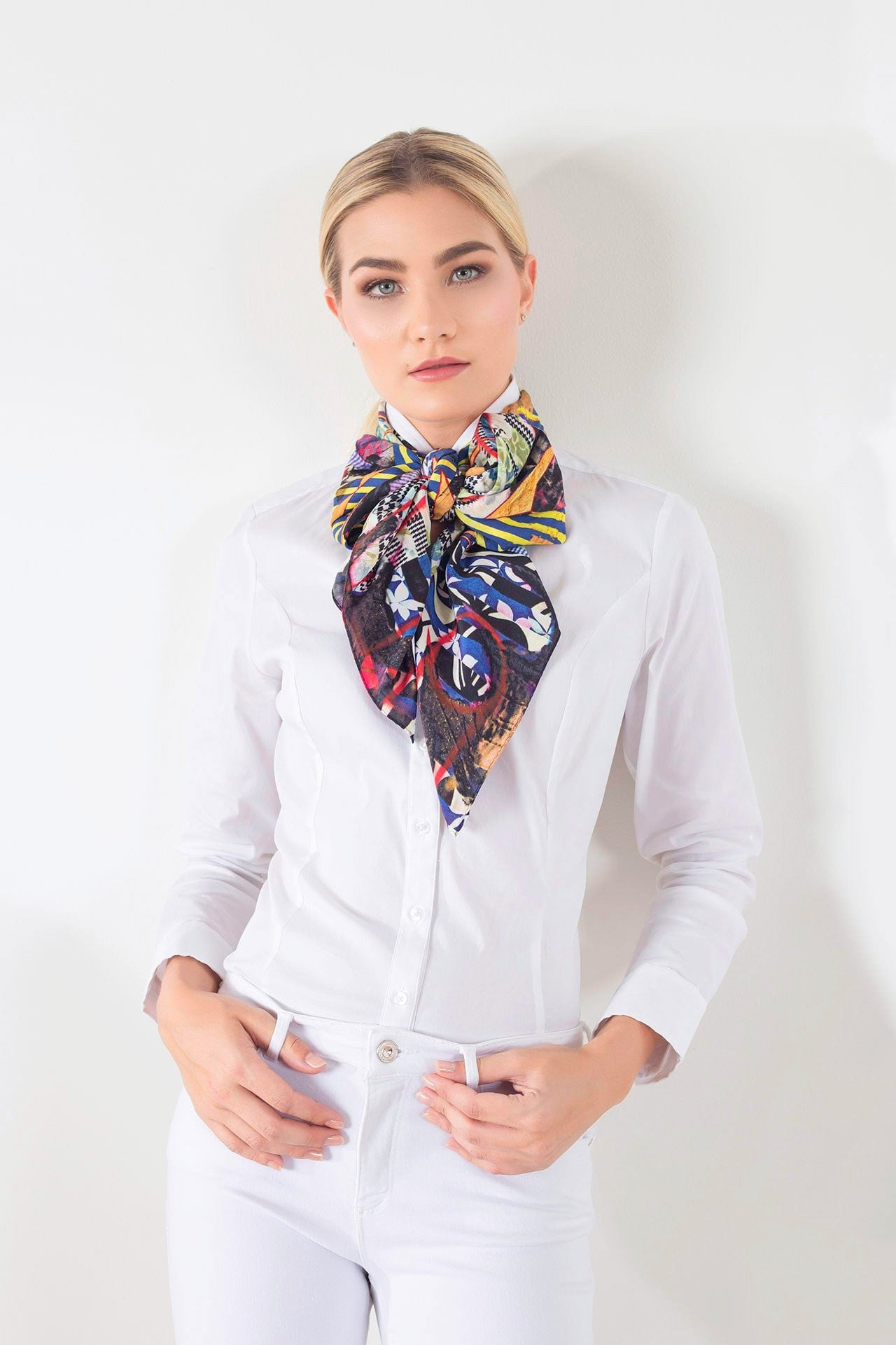 Styled view of limited edition silk scarf designed by New York artist Sanford Biggers