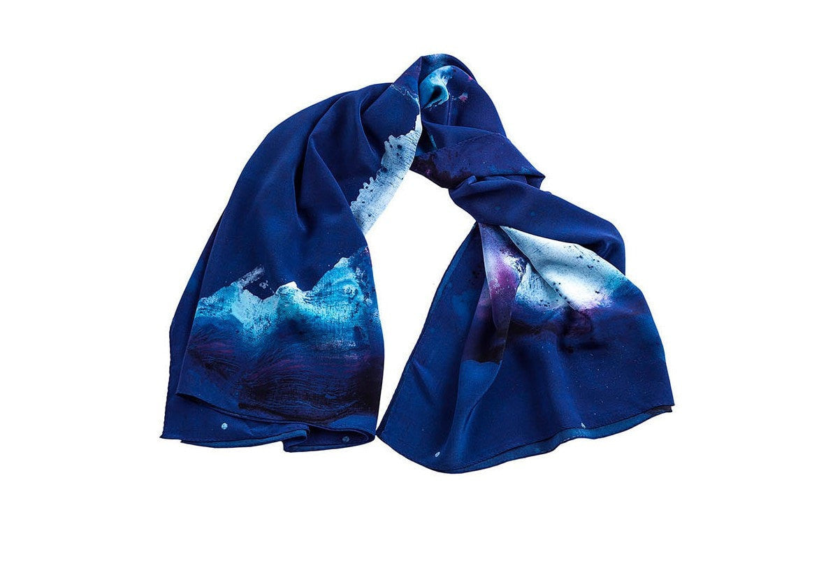 Hue Silk Scarf - Blue in Motion Print Scarves - artTECA
