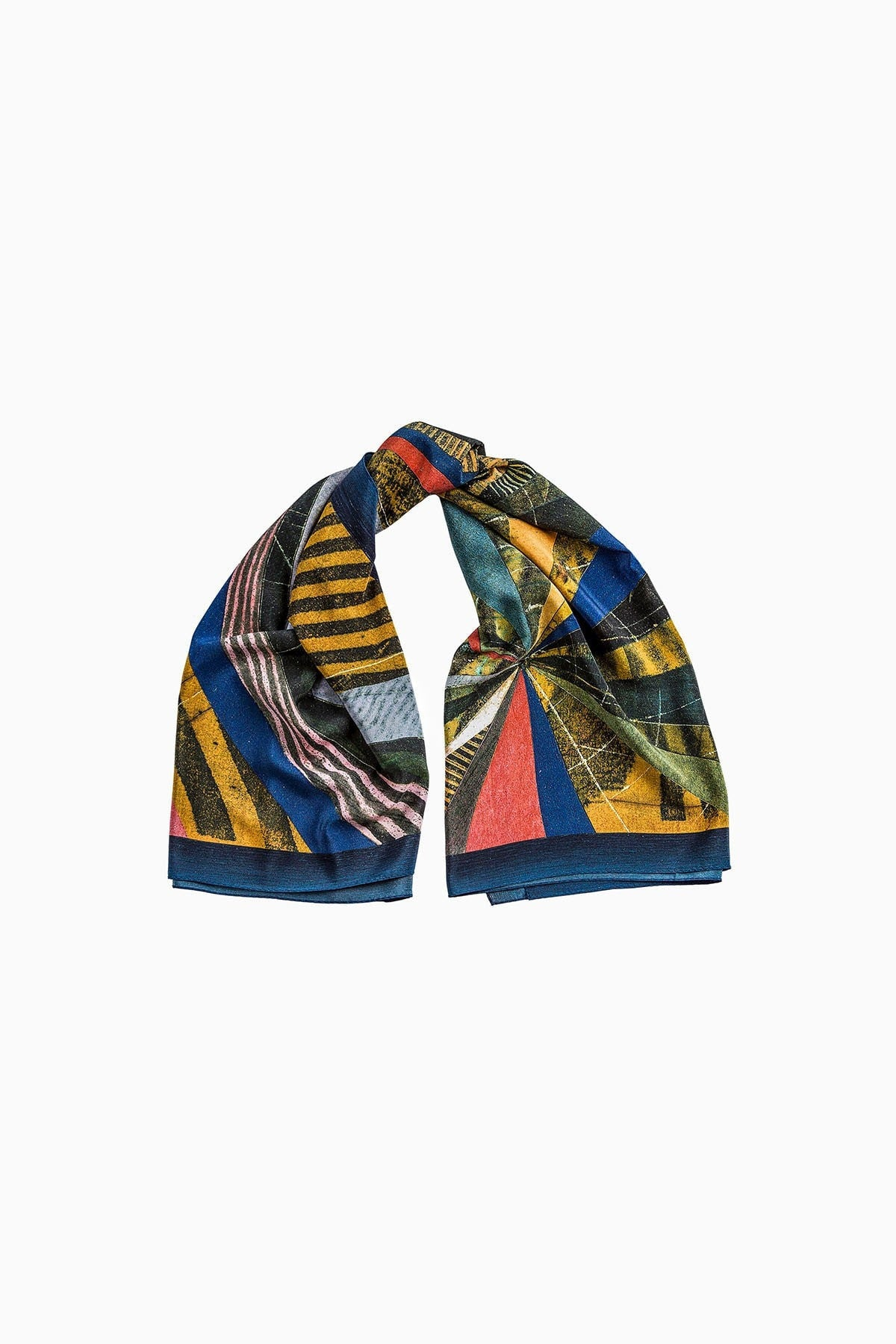 Hue Silk Scarf - Multicolor Abstract Print Scarves - artTECA