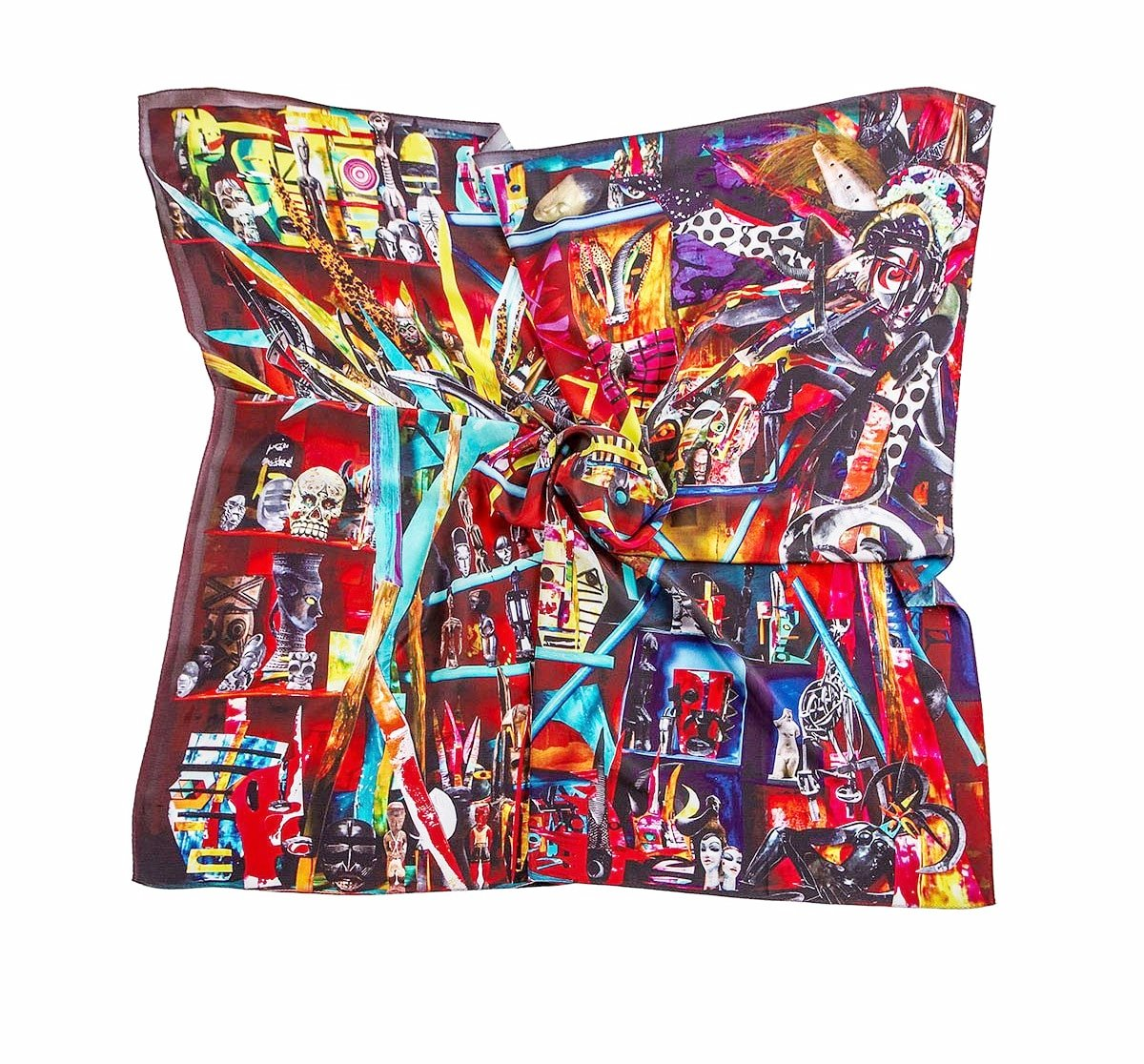 Hue Silk Scarf - Red Neon Collage Print Scarves - artTECA