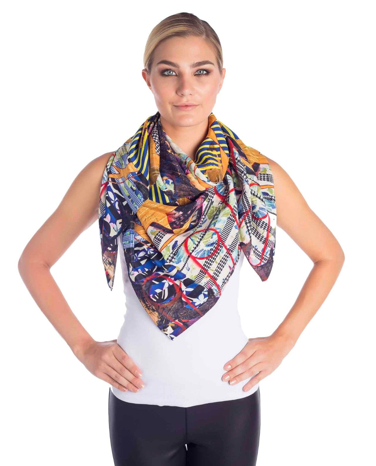 Front view of limited edition silk scarf designed by New York artist Sanford Biggers