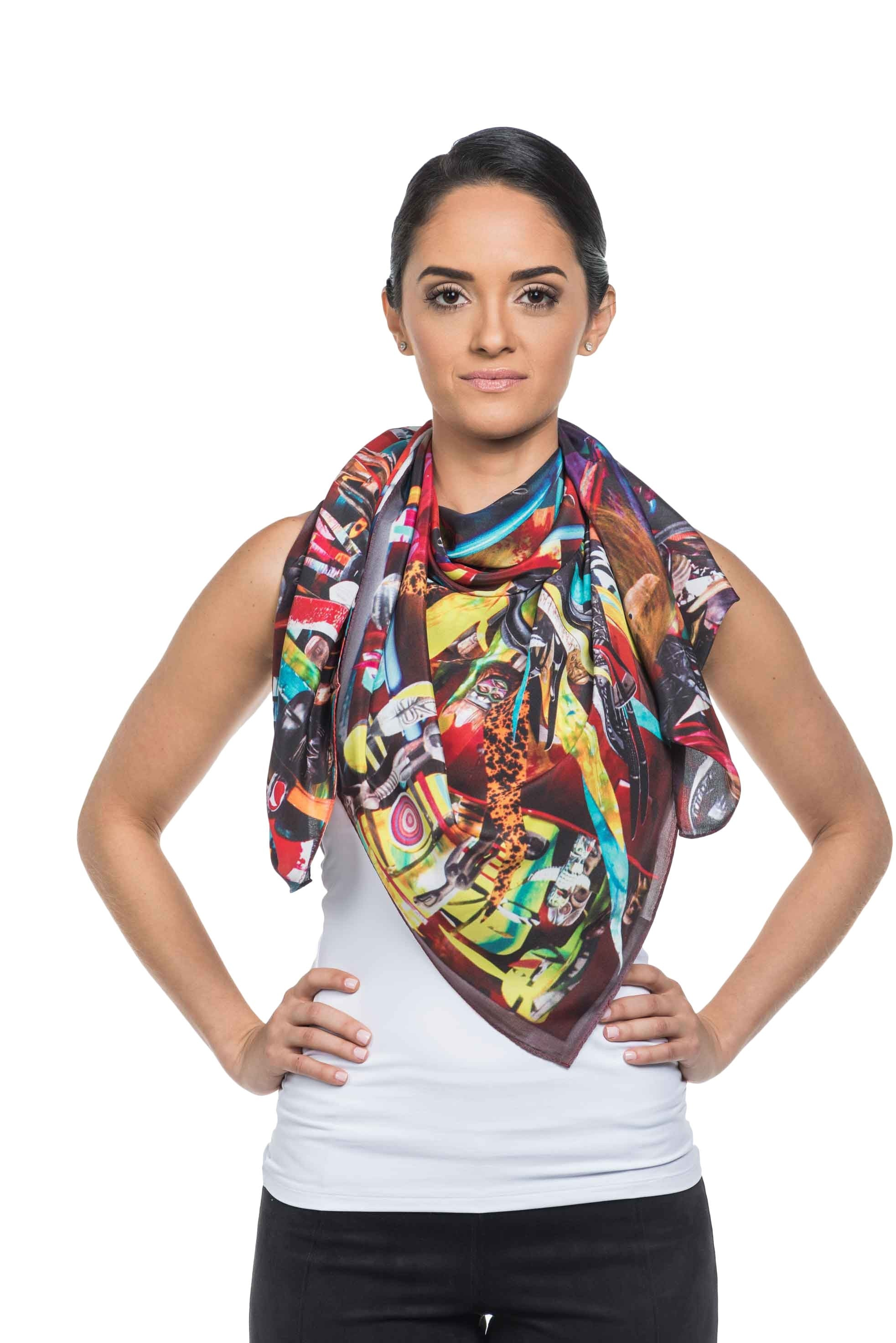 Magnificent 100% silk uniquely designed scarf in multi-colored shades. This wearable art piece is based on an eclectic collection of objects.