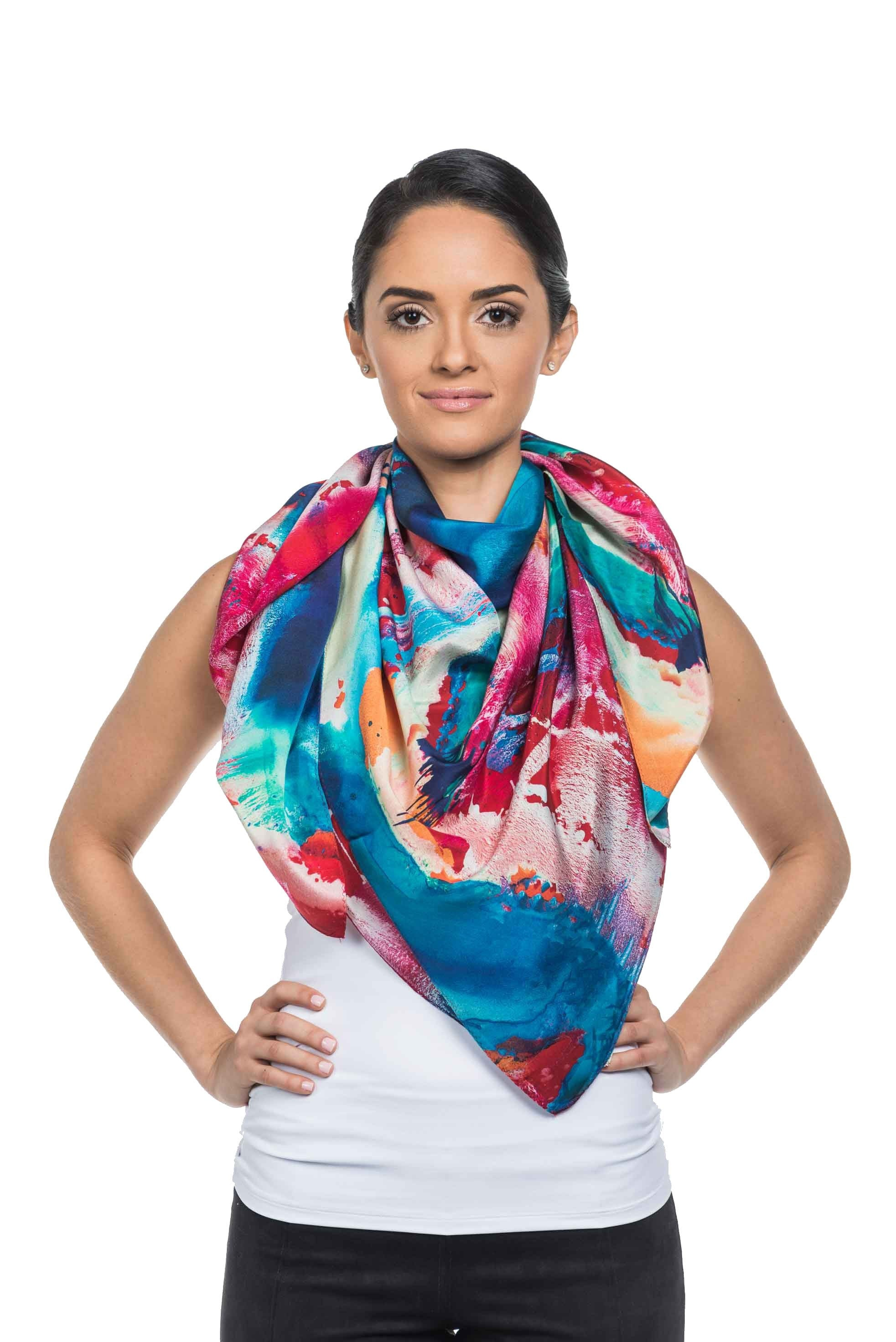 Hue Silk Scarf - Red Turquoise Print Scarves - artTECA