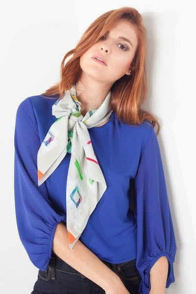 Hue Silk Scarf - Color Magic Tape Print Scarves - artTECA