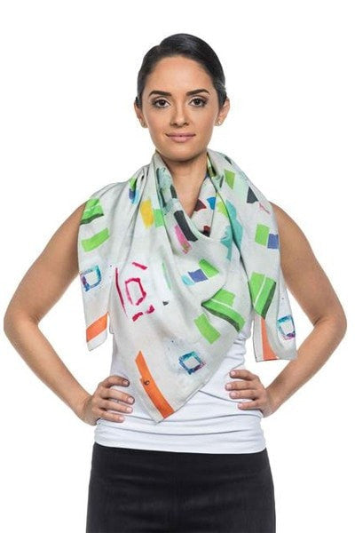 Front view of luxury silk scarves with print designed by NY artist Franklin Evans