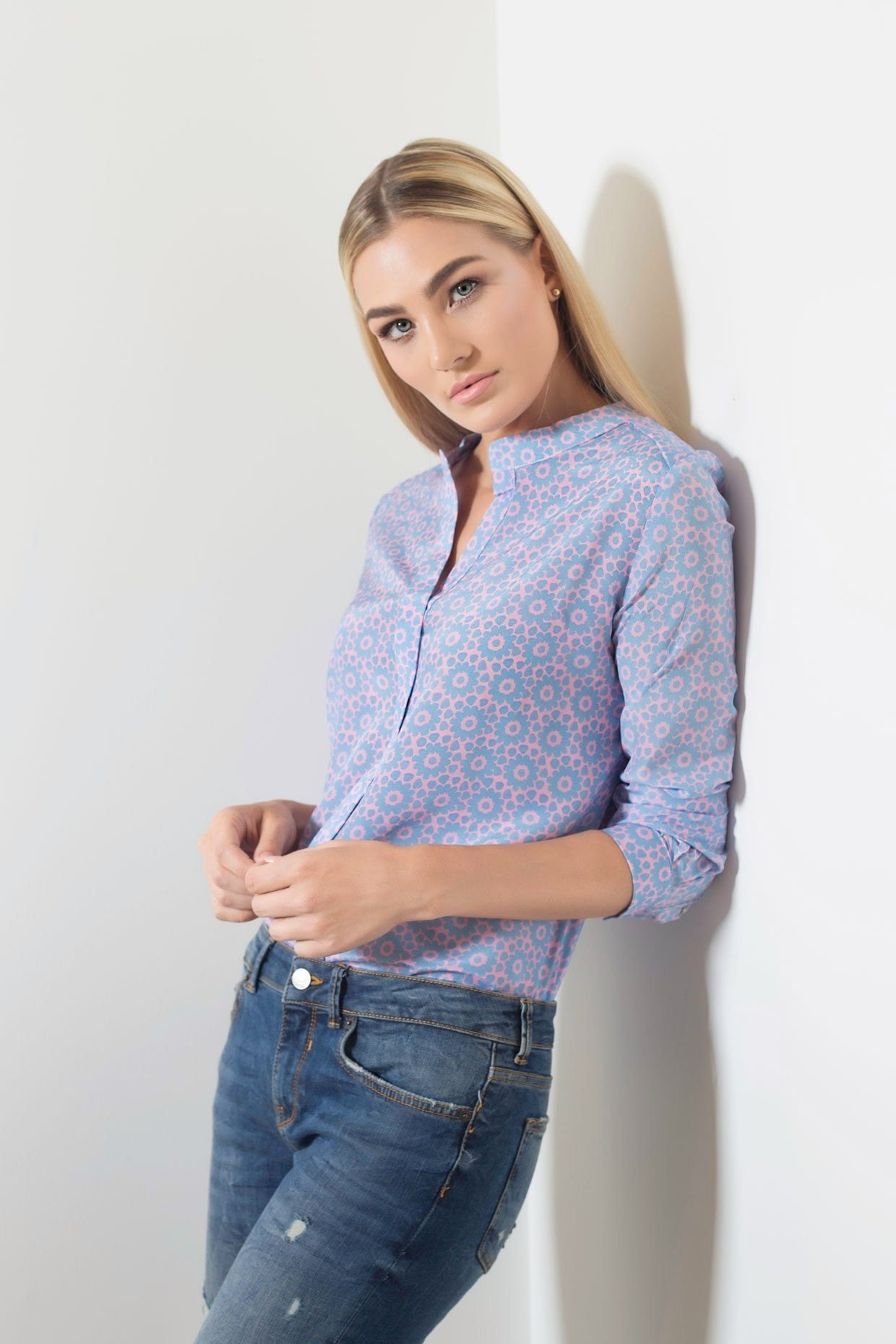 Muse Silk Blouse - Pink Blue Mantra Print Blouses - artTECA