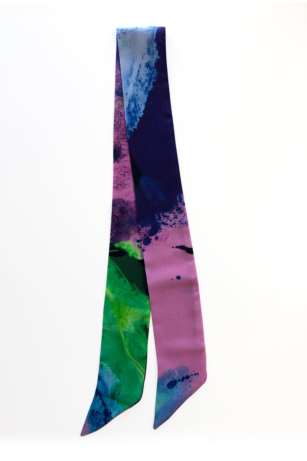 Bow Silk Scarf - Lila Green Print Bow Silks Scarves - artTECA