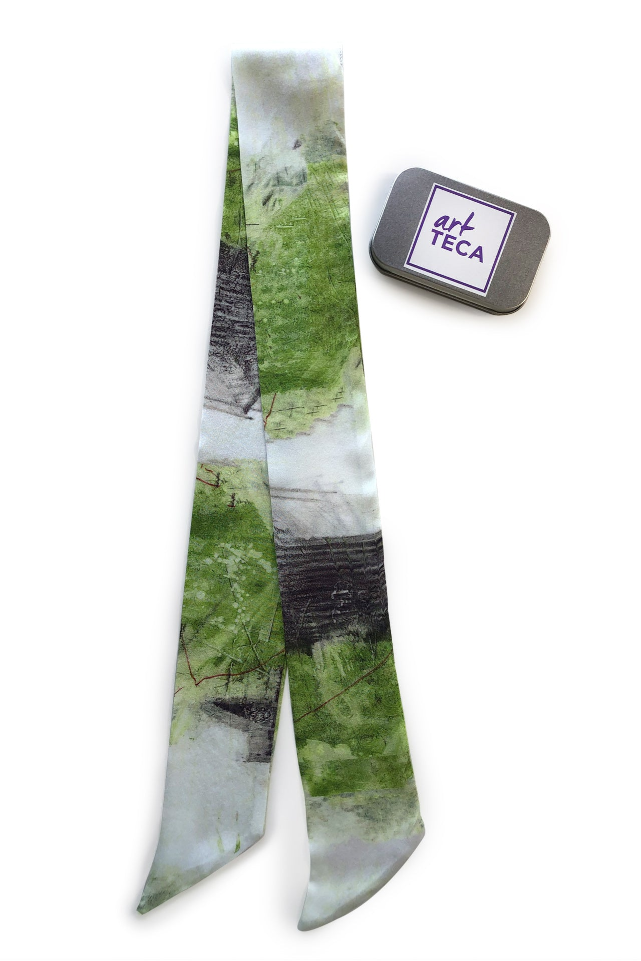 Bow Silk Scarf - Green Gray Cabin Print Bow Silks Scarves - artTECA