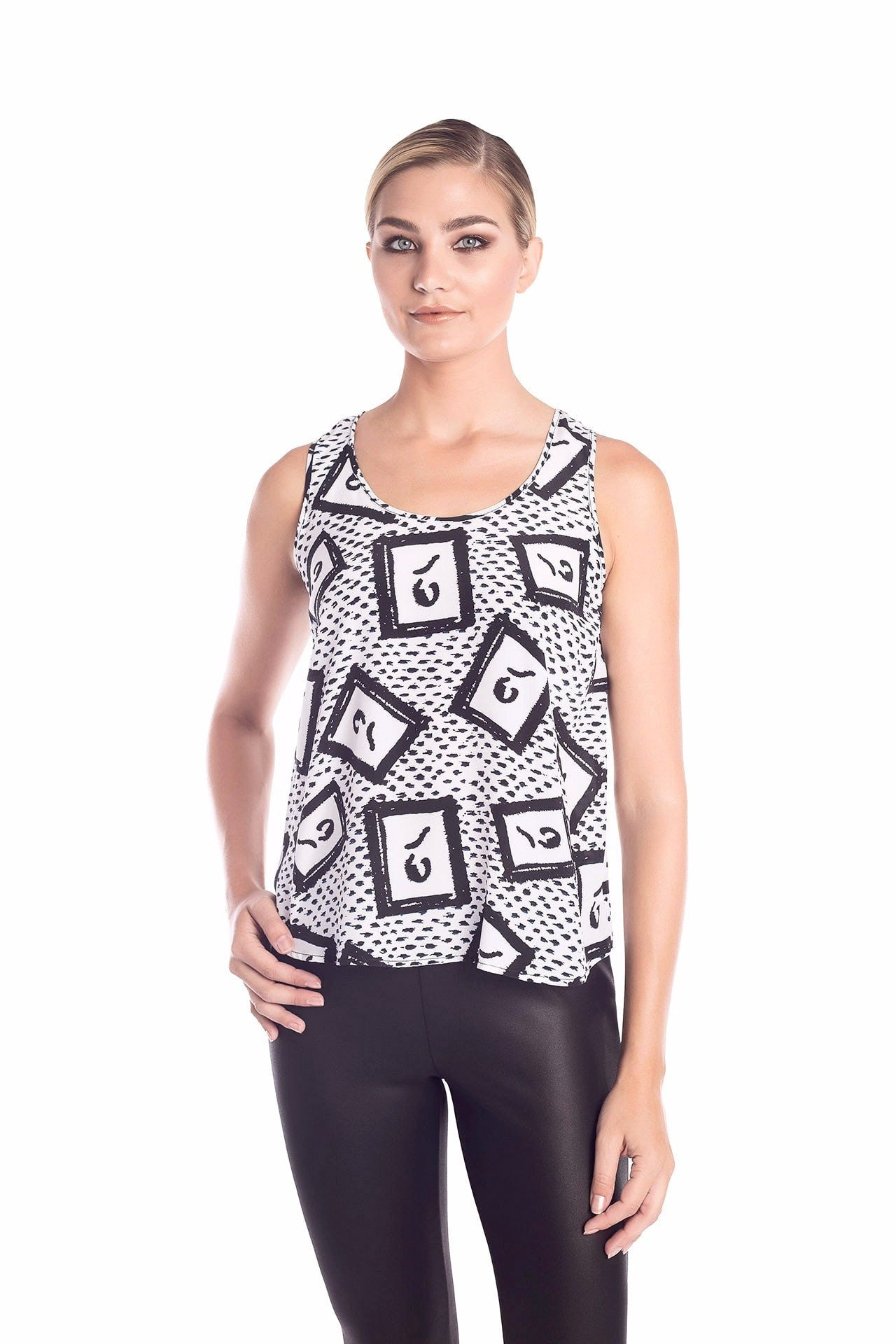 Kinetic Silk Tank Top - Black and White Painting Print Tank Tops - artTECA