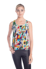 Front view of special occasion tops with multi-color print by artist Jovi Schnell