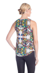Back view of fashionable tops for women with multi-color print designed by artist Pepe Mar