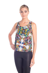 Front view of fashionable tops for women with multi-color print designed by artist Pepe Mar