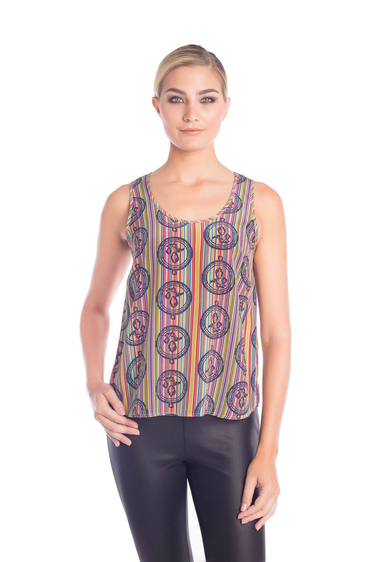 Kinetic Silk Tank Top - Prisma Print Tank Tops - artTECA