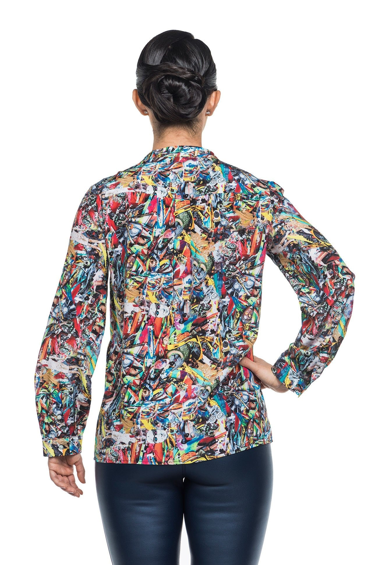 Muse Silk Blouse - Colorful Warrior Print Blouses - artTECA