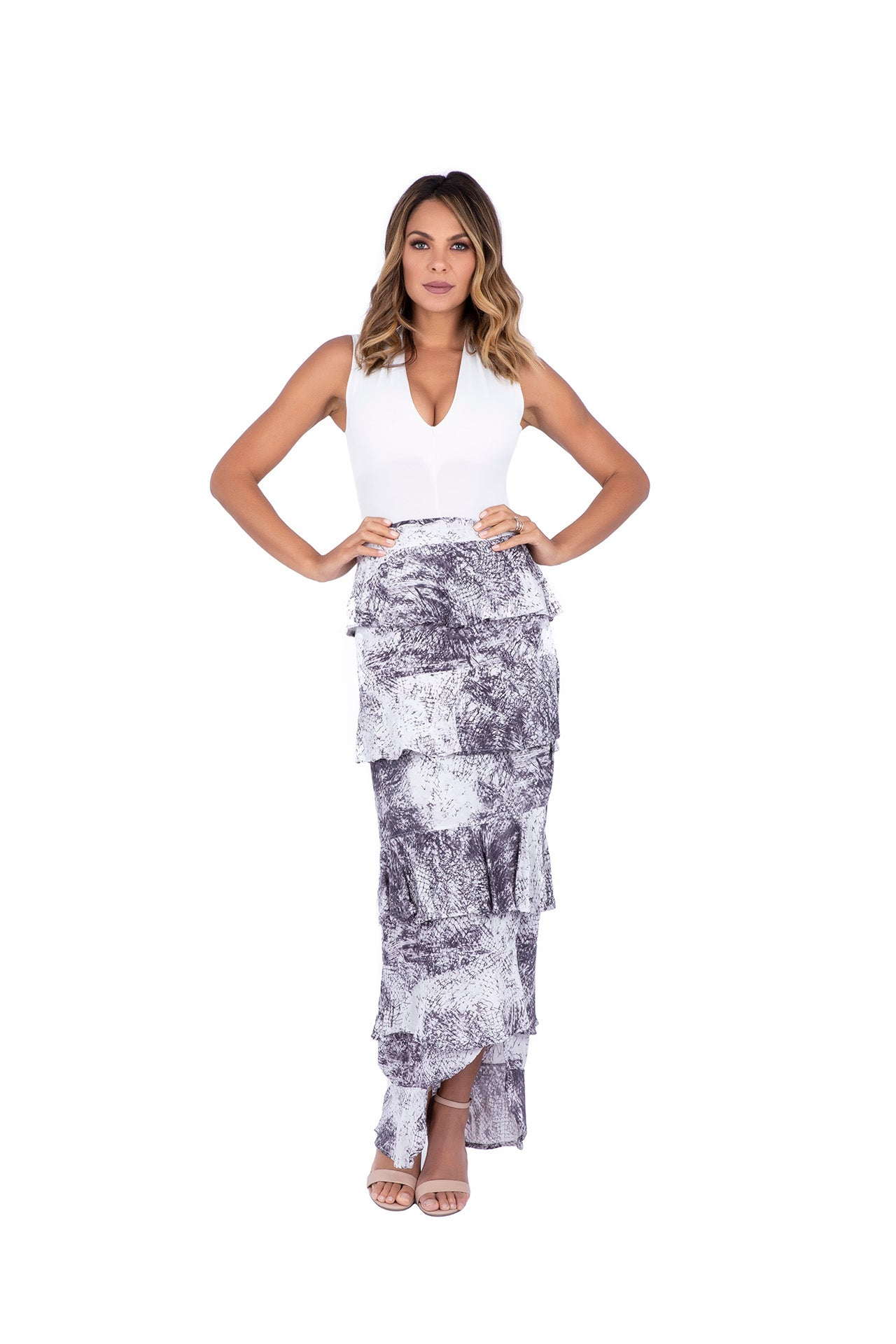 Mossa Ruffle Wrap Maxi Skirt - Pencil Sketch Print Skirts - artTECA