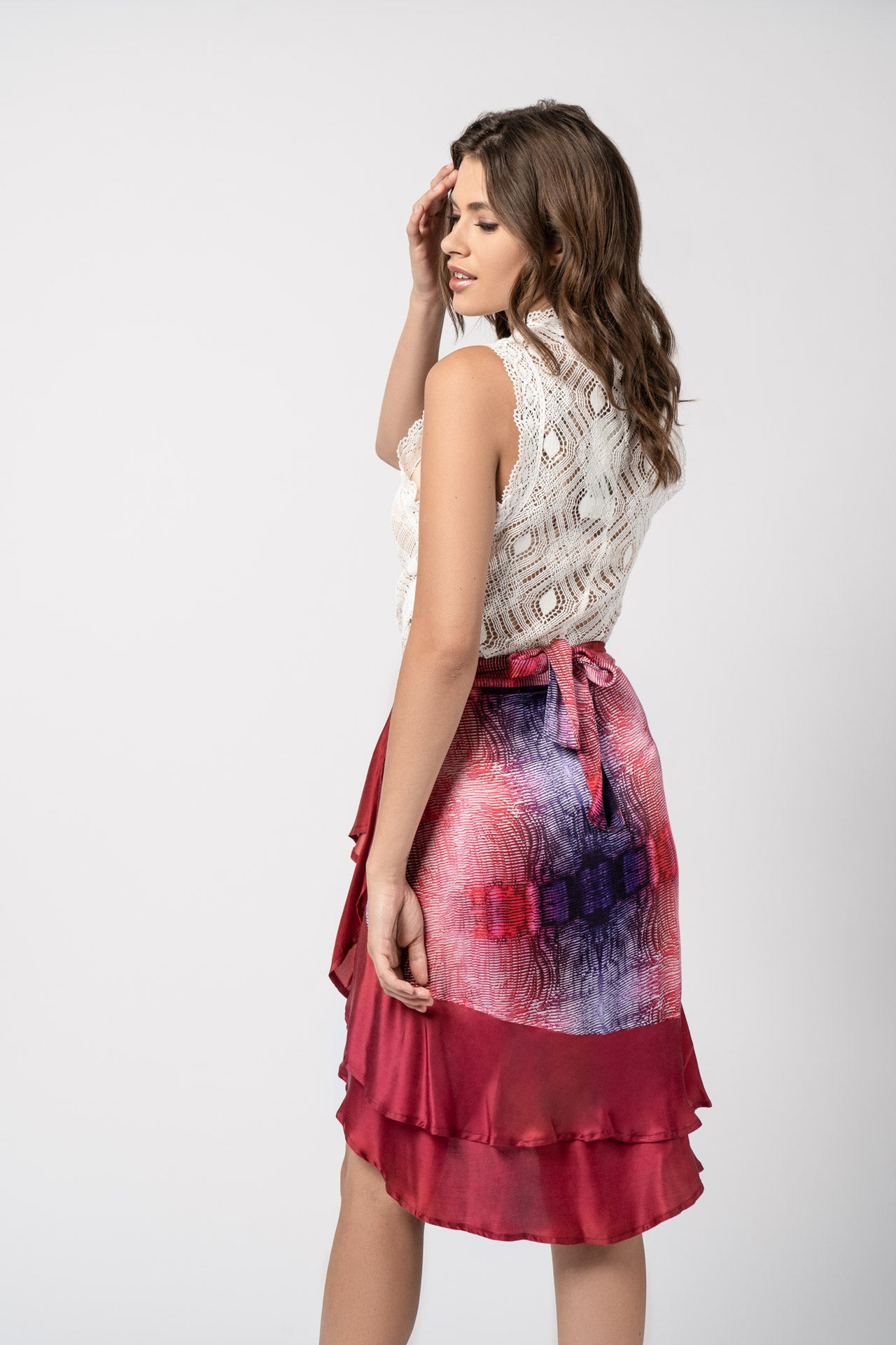 Mural Wrap Skirt - Red Plum Print Skirts - artTECA