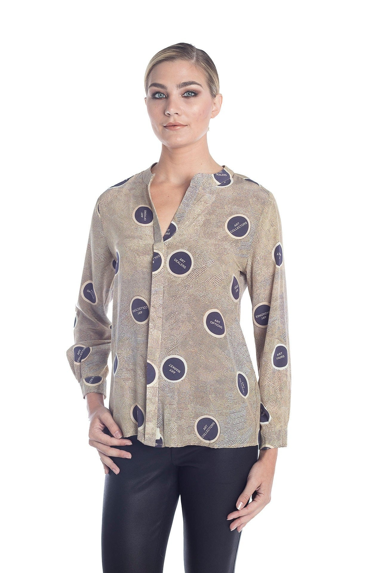 Muse Silk Blouse - Art World Print Blouses - artTECA