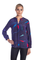 Muse Silk Blouse - Night Blue Print Blouses - artTECA