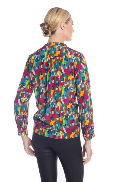 ad35c2a21d7e97 Long Sleeve Colorful Silk Blouse with One of a Kind Prints