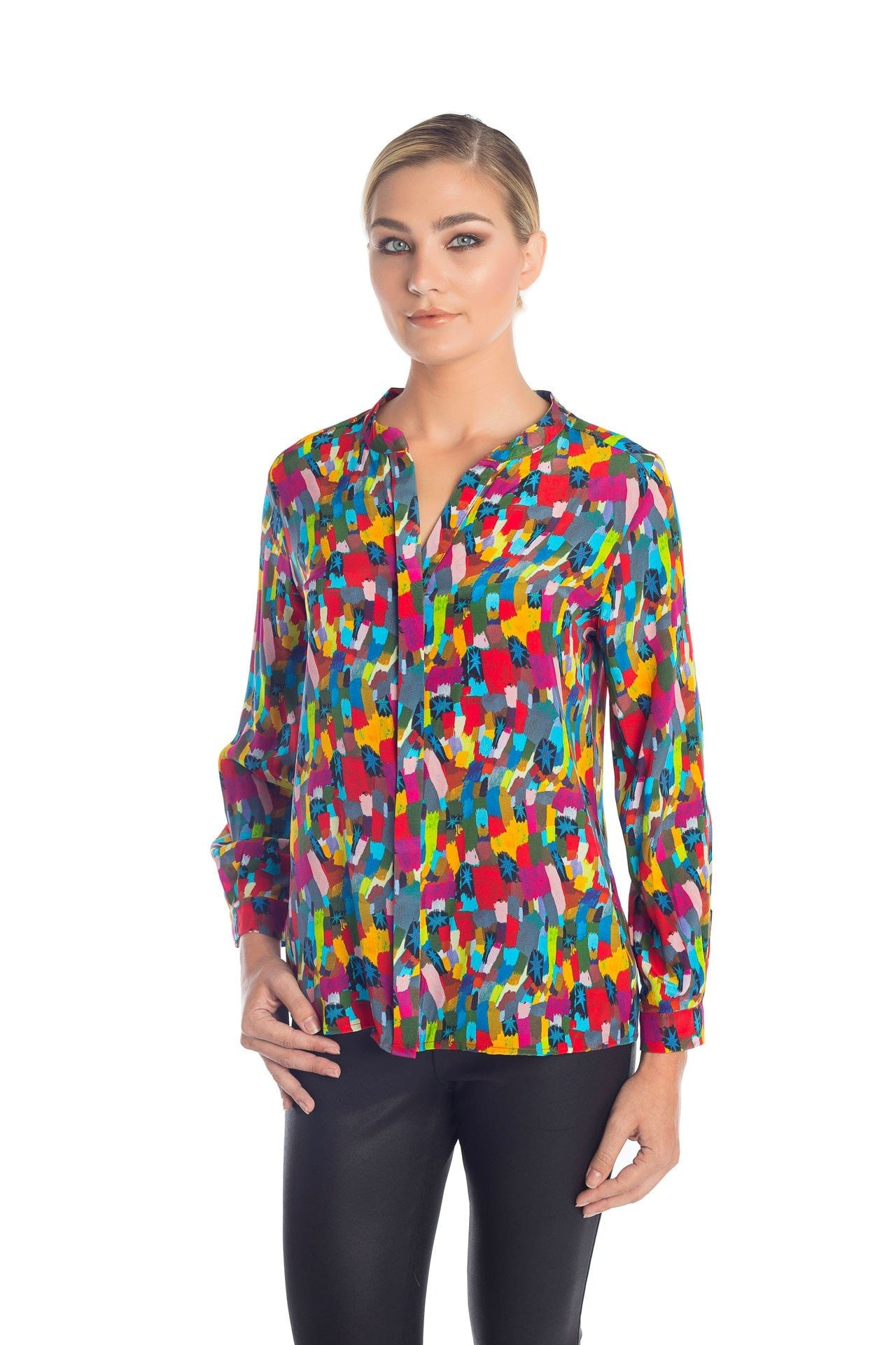 Muse Silk Blouse - Color Star Print Blouses - artTECA