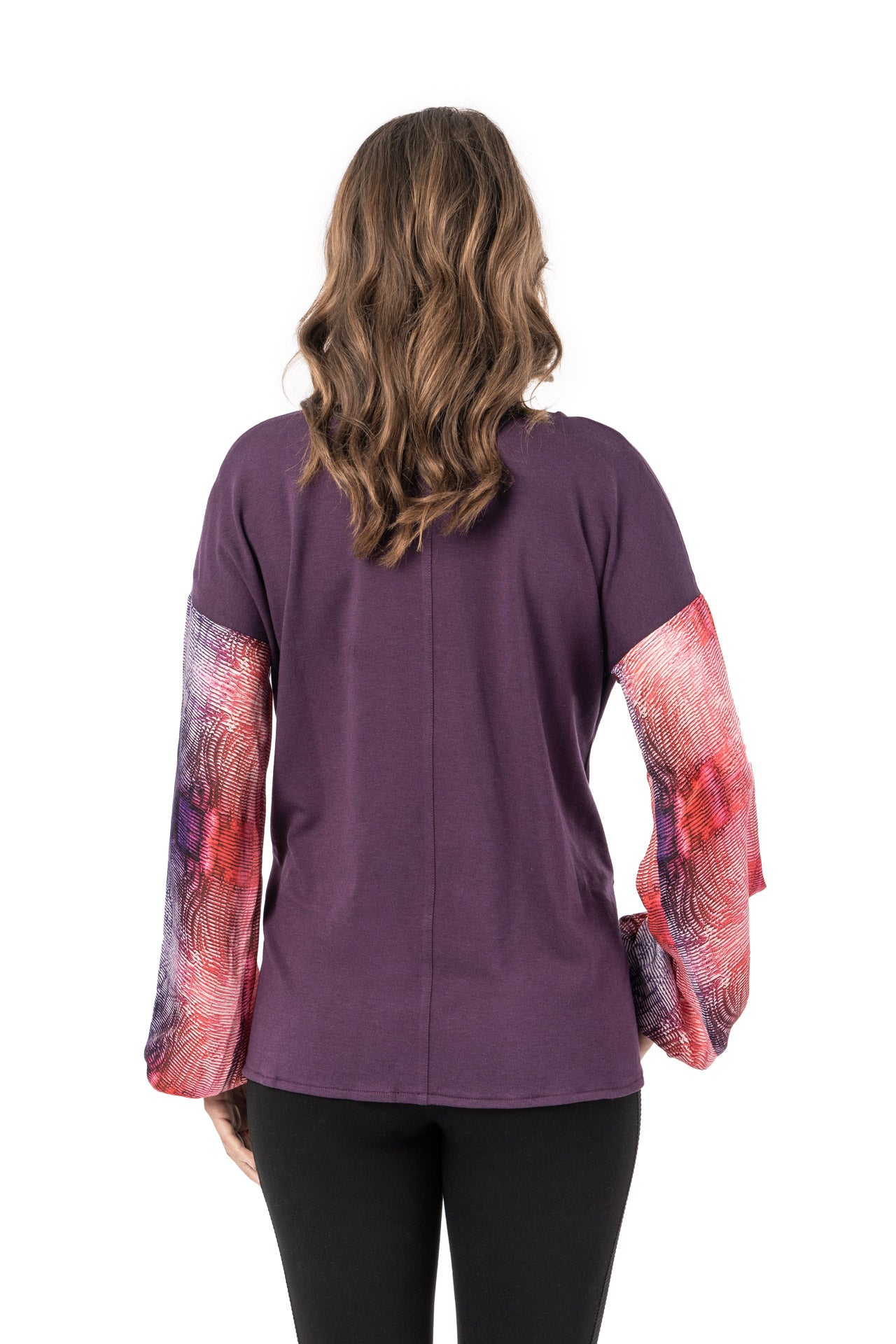 Papier Top - Red Plum Print Long Sleeve Top - artTECA