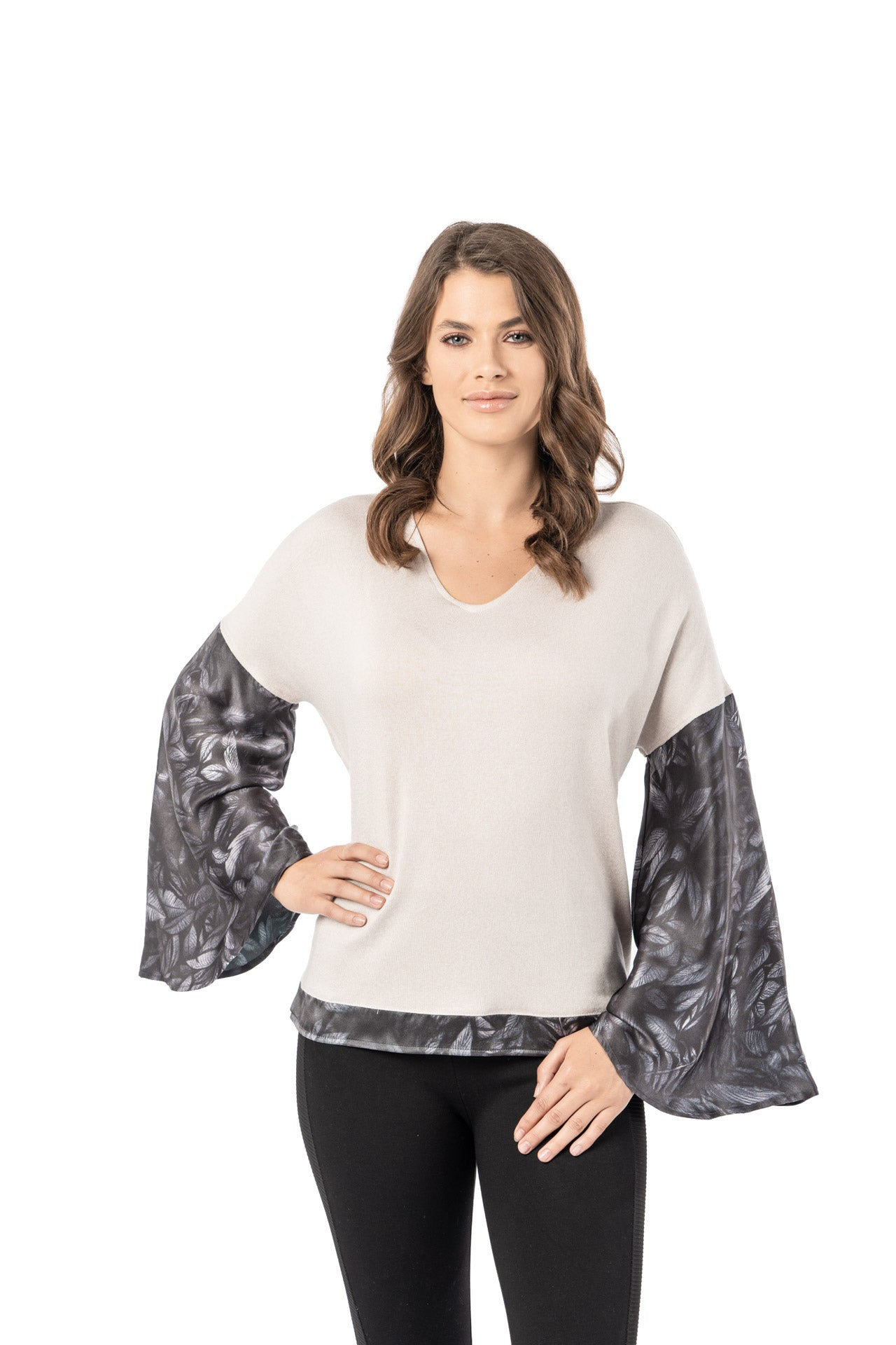 Scala Top - Silver Foliage Print Long Sleeve Top - artTECA