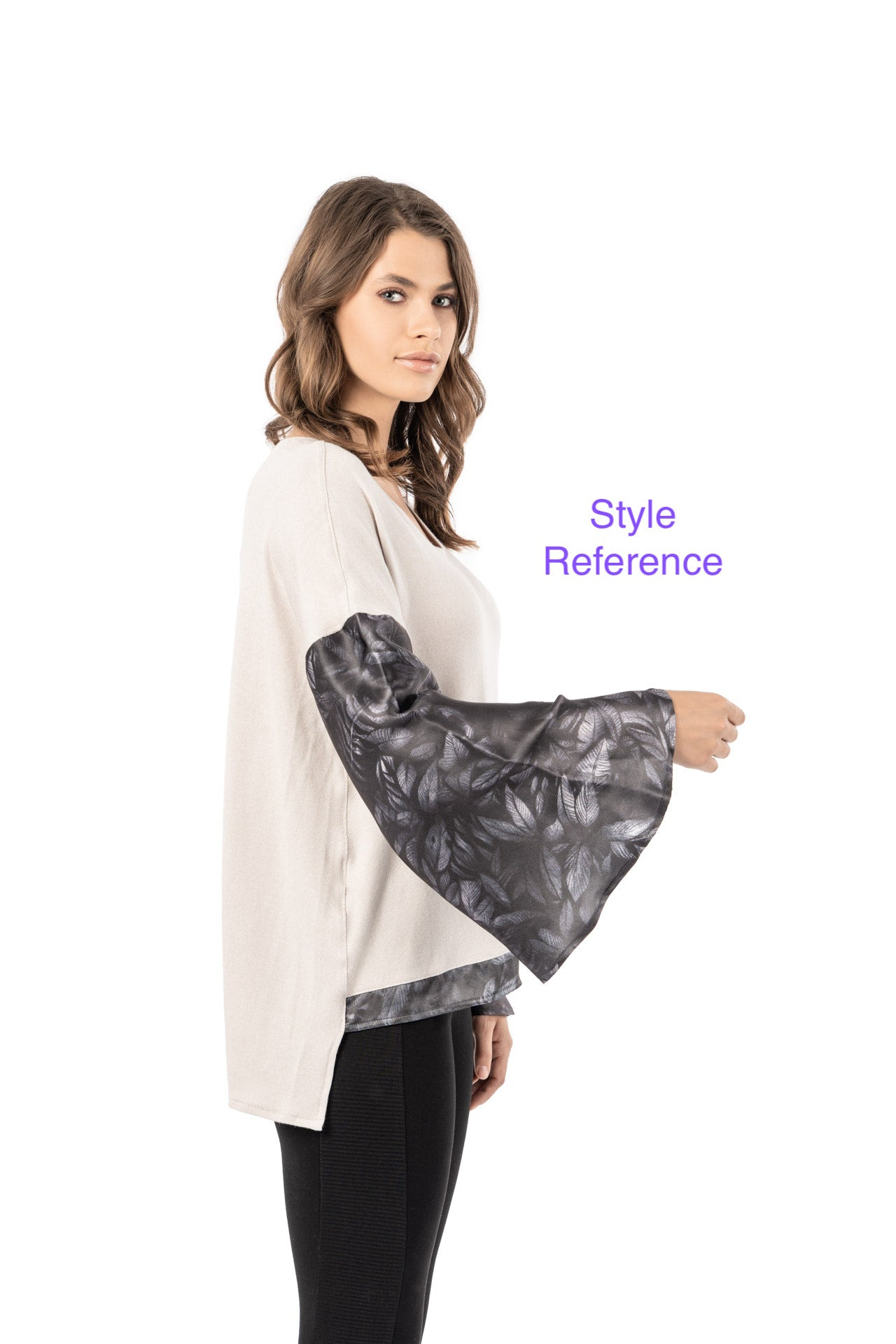 Scala Top - Black Mantra Print Long Sleeve Top - artTECA