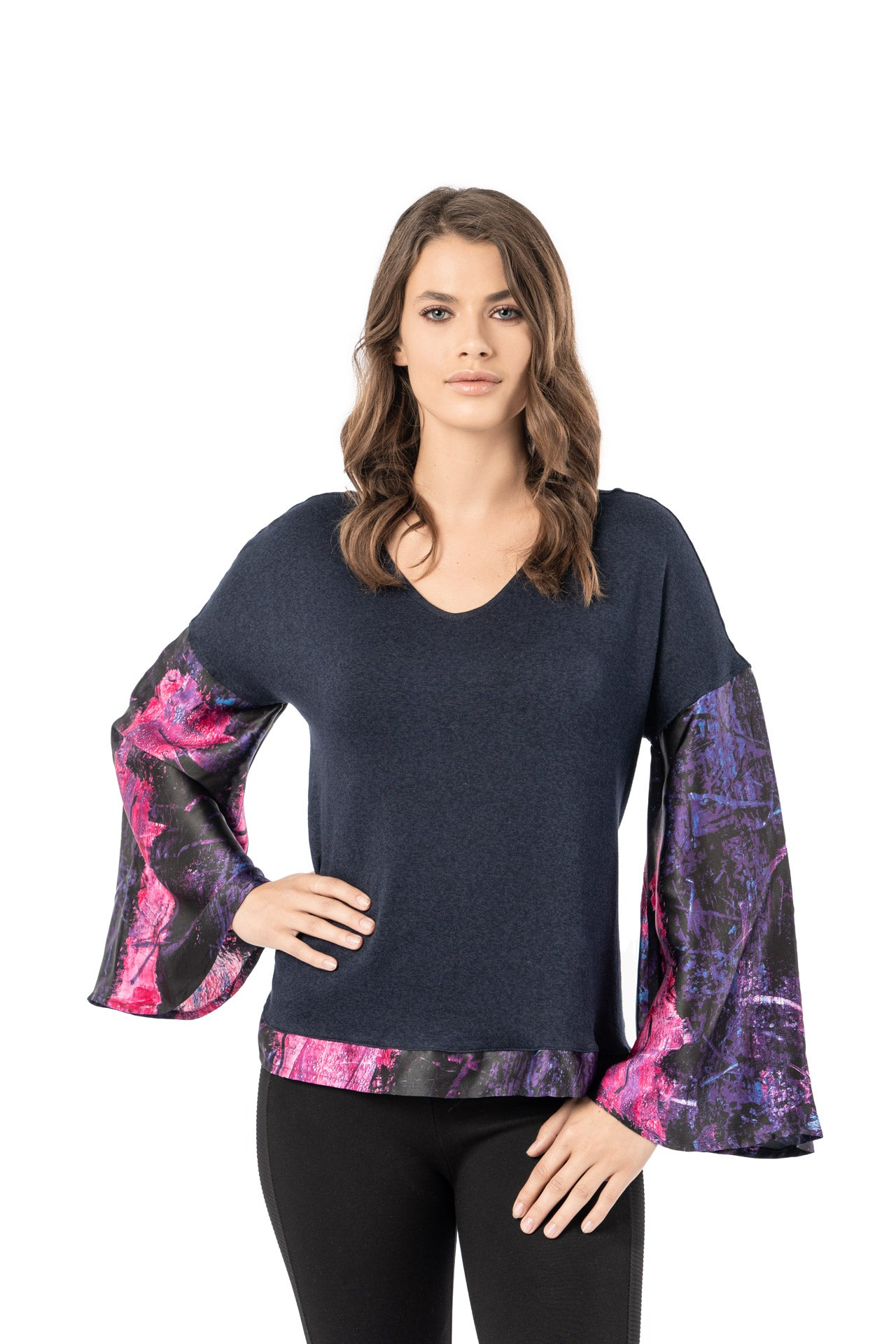 Scala Top - Rose Purple Bar Long Sleeve Top - artTECA
