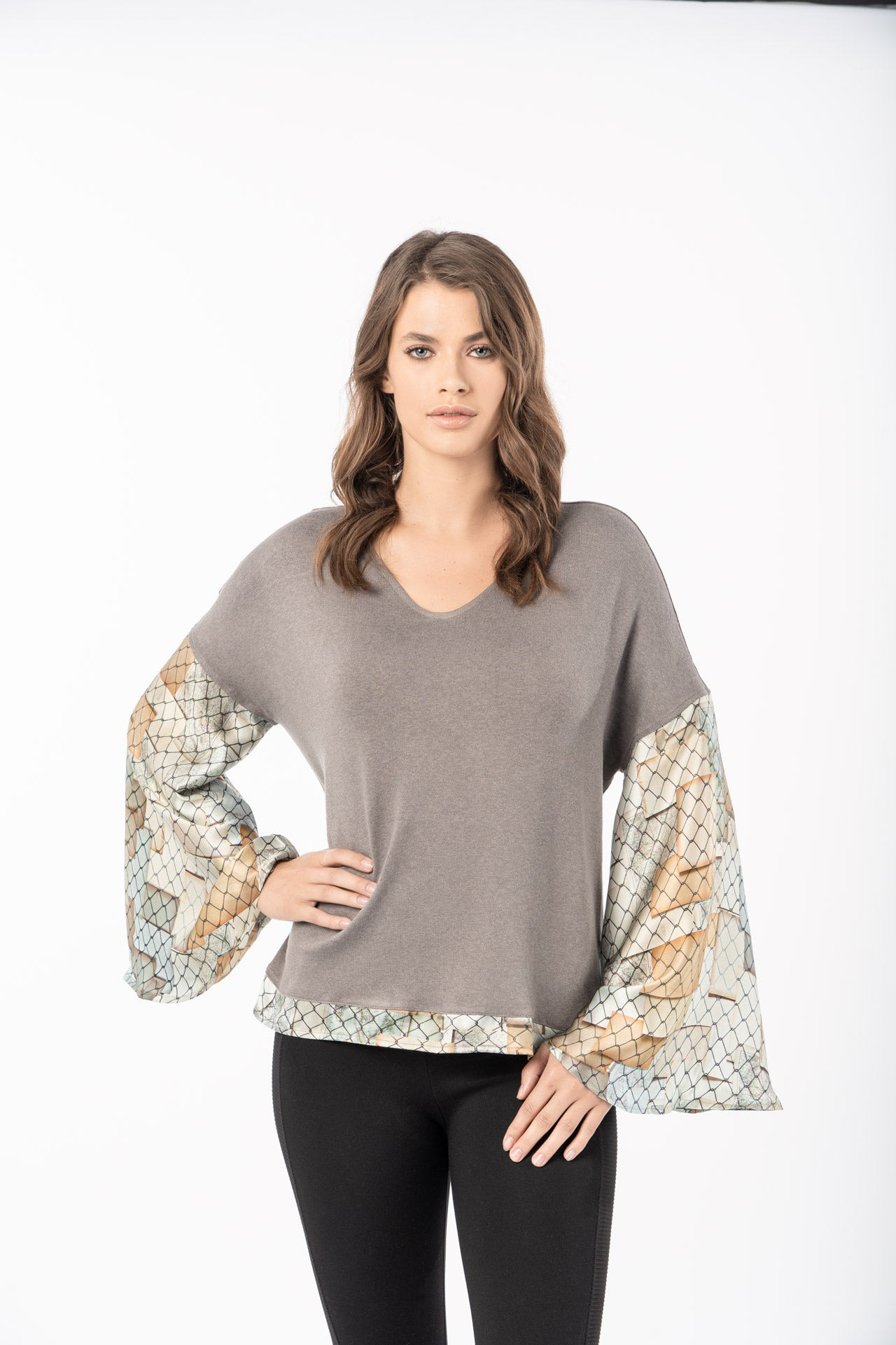Scala Top - Fence Map Print Long Sleeve Top - artTECA