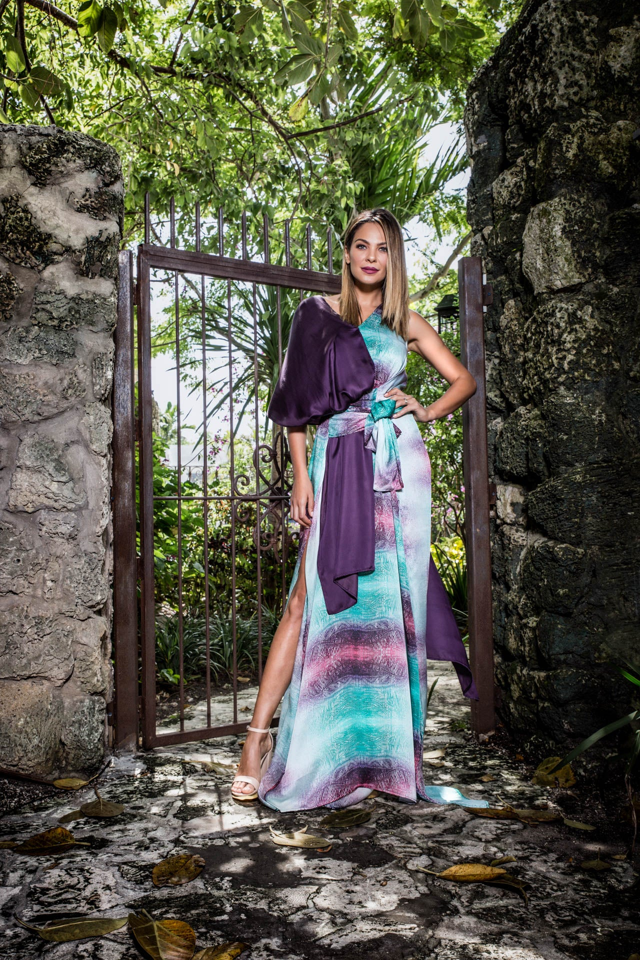 Scope Kaftan - Turquoise Violet Print Dresses - artTECA