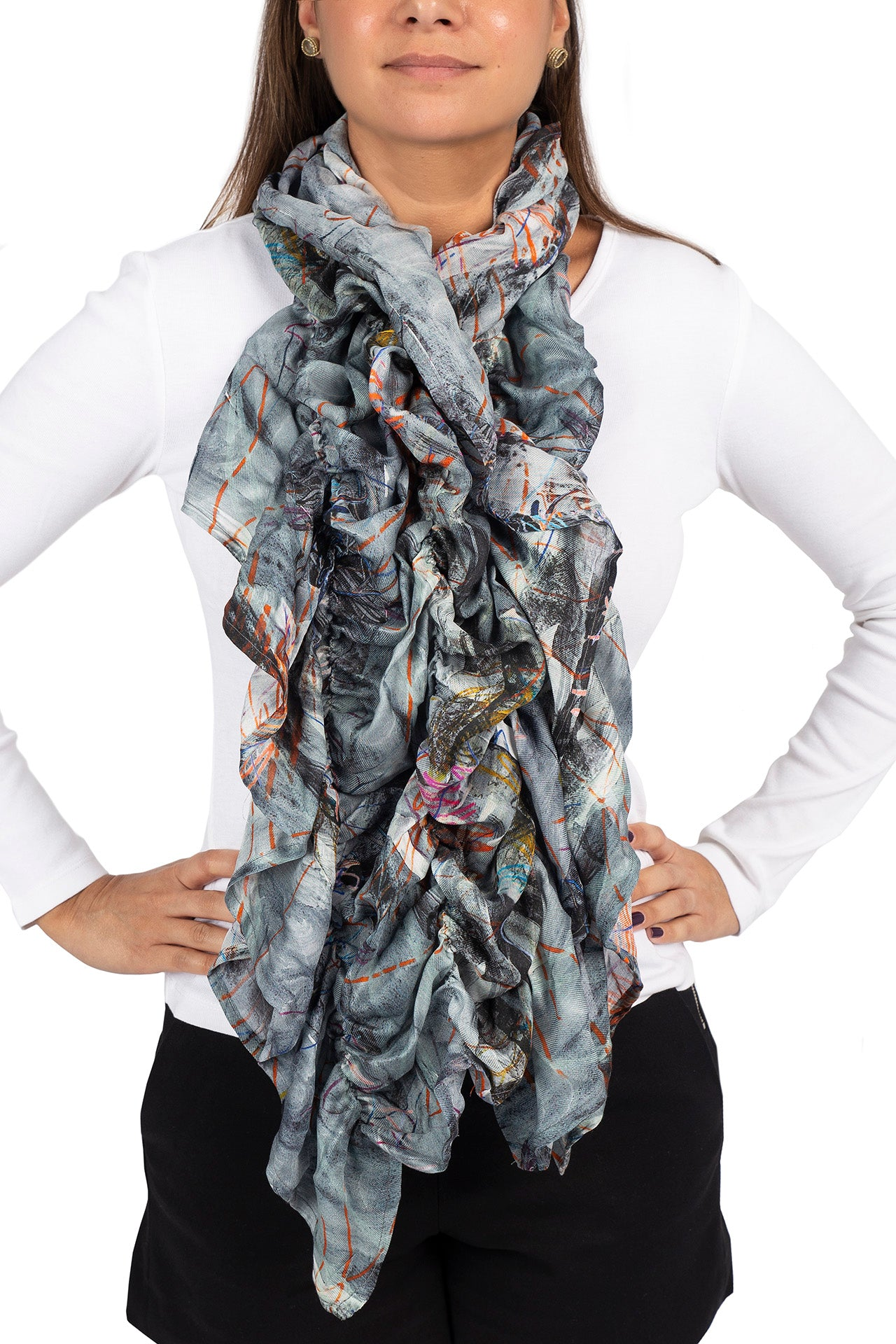 Tondo Ruffle Scarf - Gray Abstract Print Scarves - artTECA