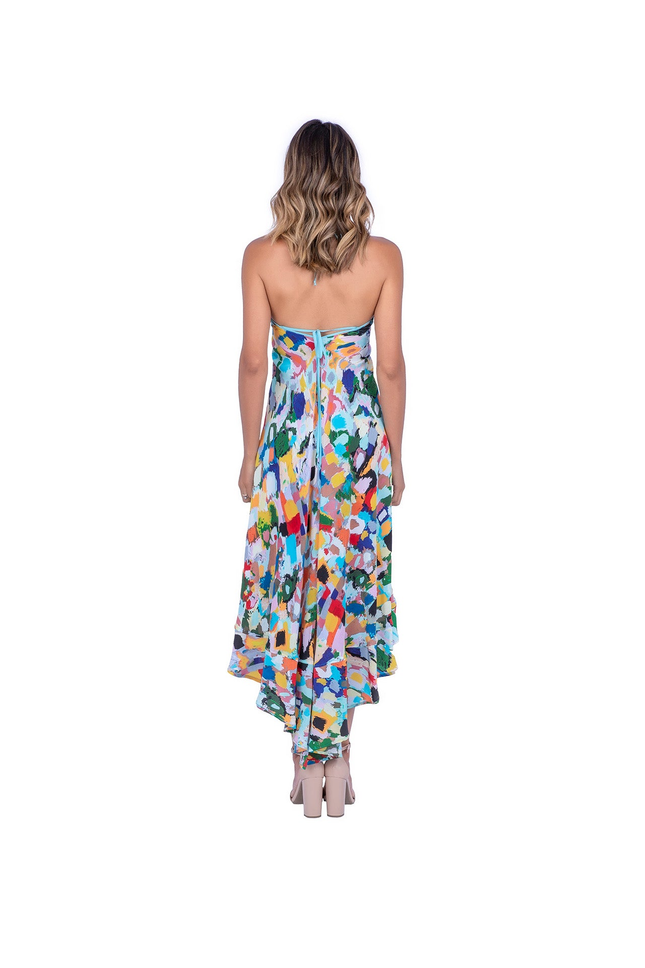 Vivo Silk Dress - Color Brushstroke Print Dresses - artTECA