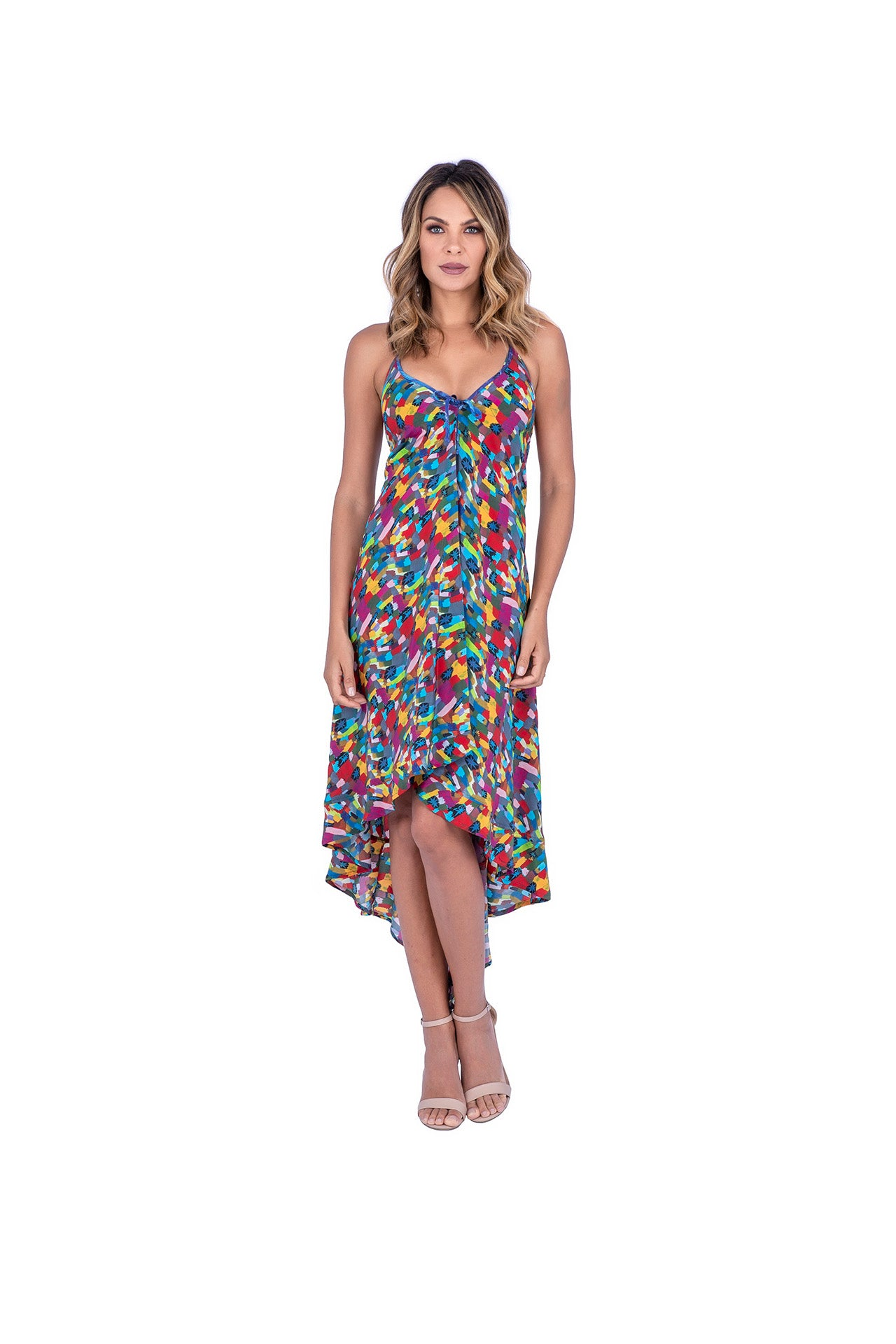 Vivo Silk Dress - Color Star Print Dresses - artTECA