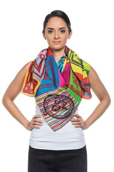 Hue Silk Scarf - Color Paintings Print Scarves - artTECA