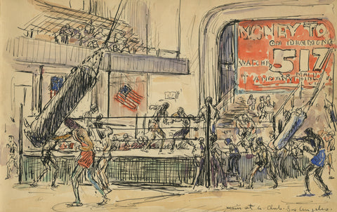 Figure 10: Mahonri M. Young (1877-1957) Main Street Athletic Club (1929) Ink and watercolor on paper. 5 ¾ x 9 in.
