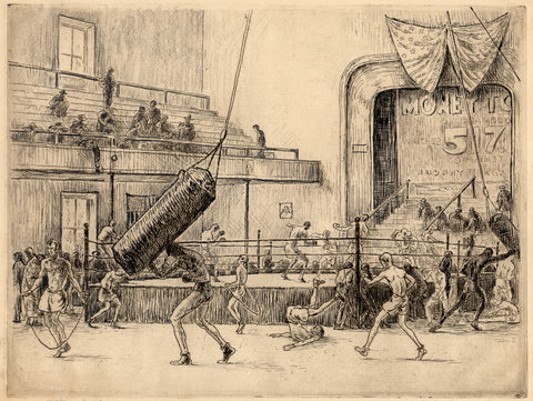 Figure 11: Mahonri M. Young (1877-1957), Main Street Gym (I/IV), 1932, etching, graphite and ink, 14 x 18 ½ inches. Brigham Young University Museum of Art, purchase/gift of the Mahonri M. Young Estate, 1959.