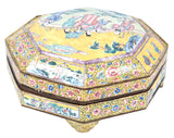 Turn-of-the-century Chinese Yellow Enameled Famille Rose Serving Dish