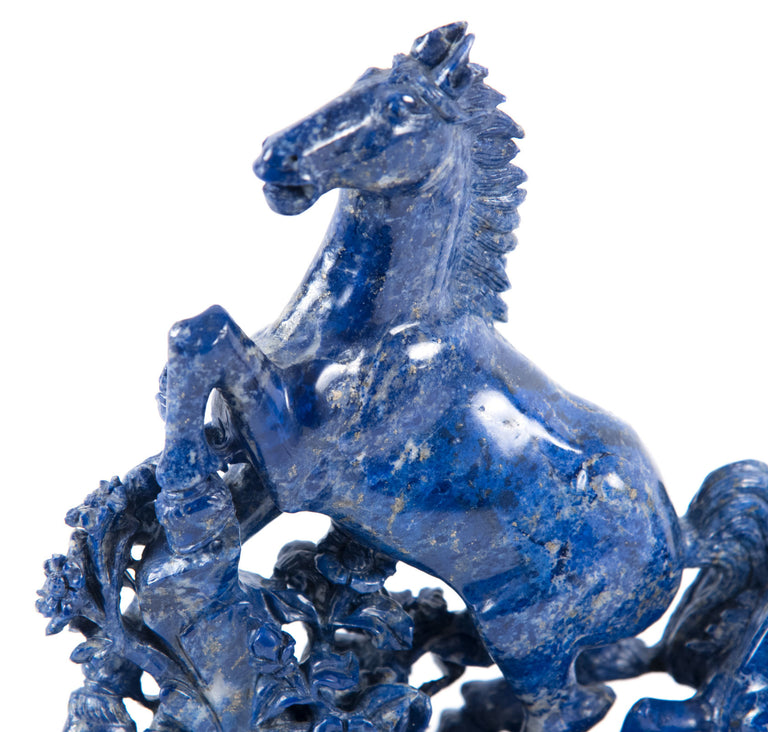 19th Century Blue Marble Horse Sculpture
