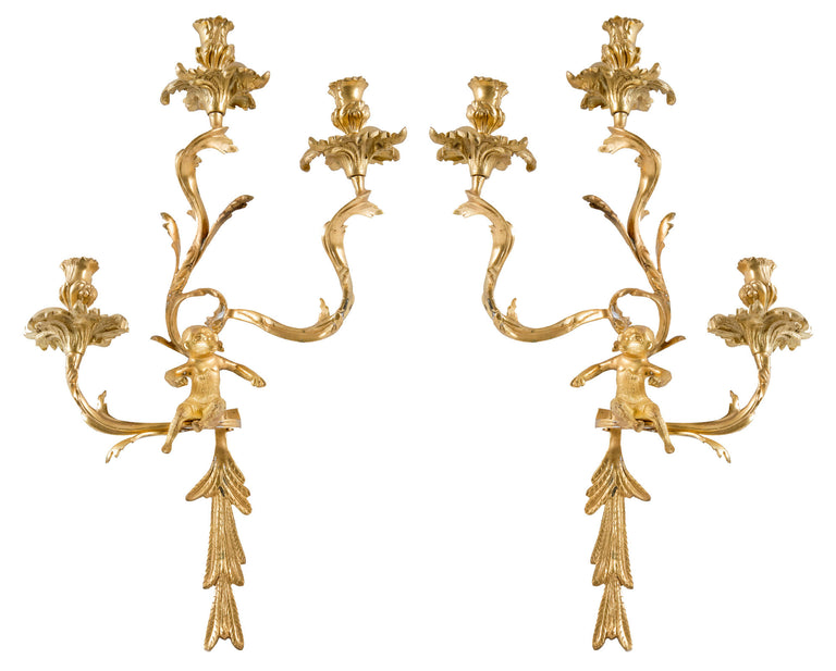 Pair of Gilt Louis XV-Style Wall Sconces