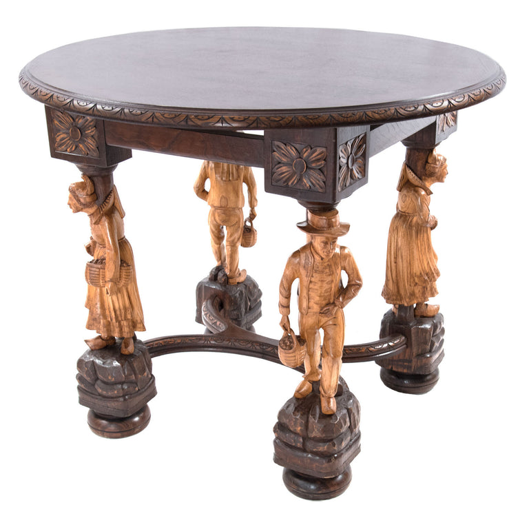 19th Century French Tiger Oak Table with Carved Figural Legs