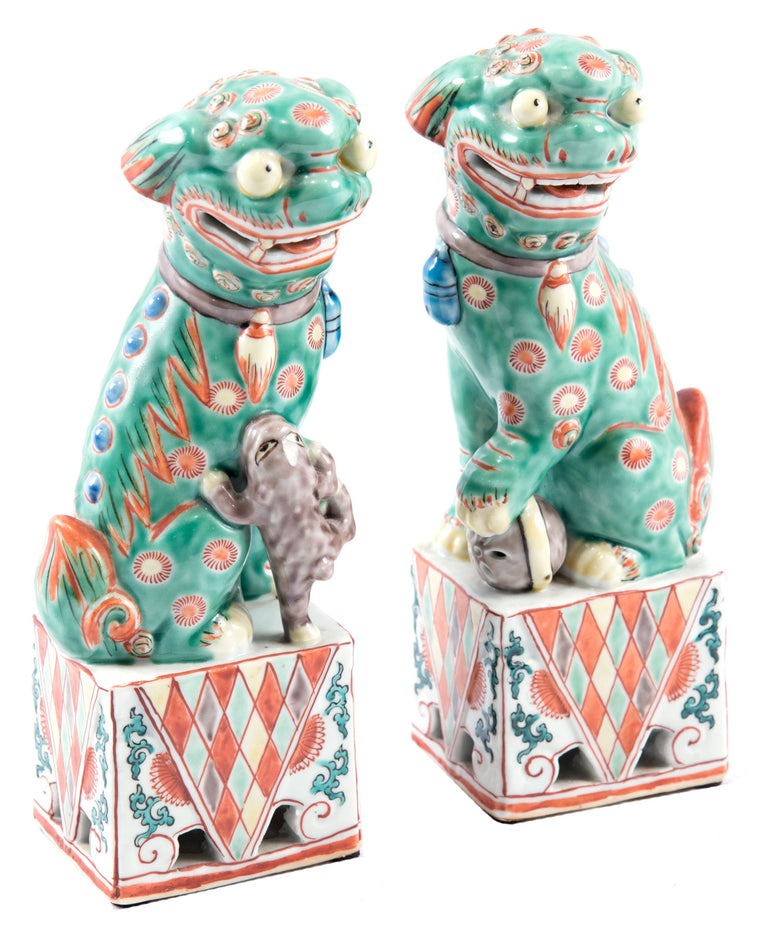 Pair of 19th Century Chinese Polychrome Foo Dogs