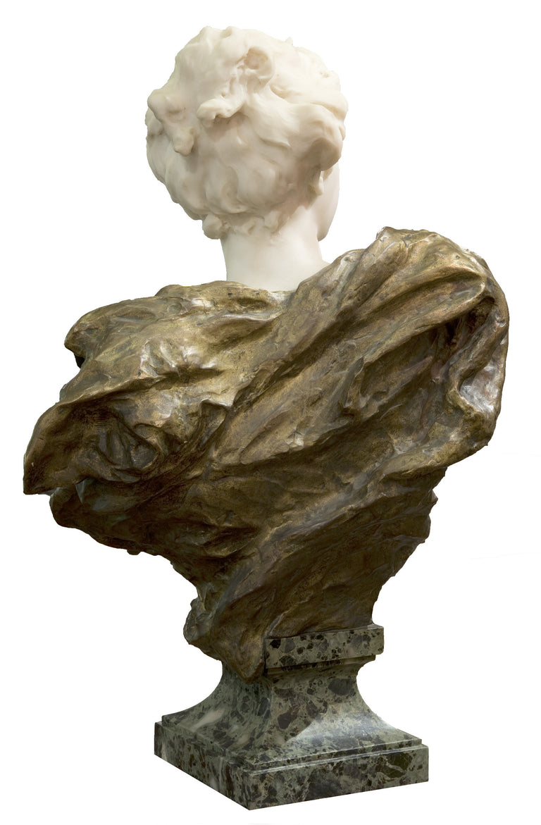 19th Century French Ormolu and White Marble Bust of Diana (c. 1900) by Henri Weigele