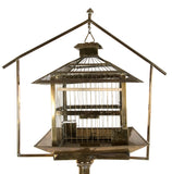 Chinese-style Brass Hanging Bird Cage and Stand