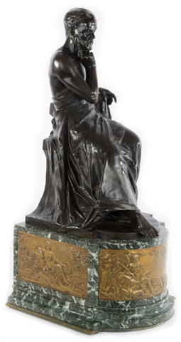 Seated Philosopher, and Gilt bronze scenes on Marble Pedestal by Edouard Drouot