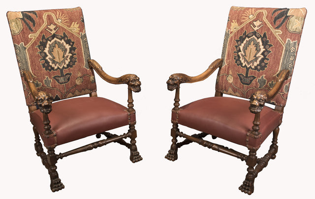 A pair of French Louis XIV Style Carved Walnut Armchair