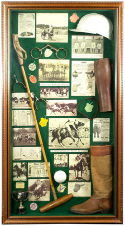 A Polo Shadowbox filled with turn-of-the-century memorabilia